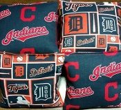 Set of 8 all weather bags made from MLB fabric